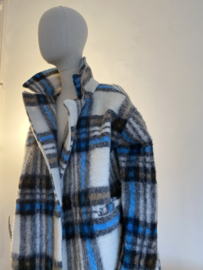 chequered coat blue