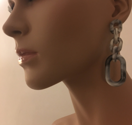 statement earrings small marble grey