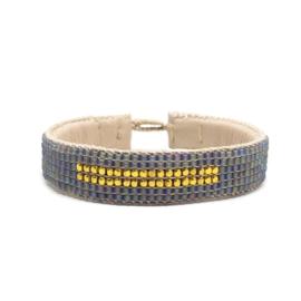 beaded cuff bracelet big stripe grey