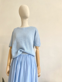 double layer silky skirt sky blue