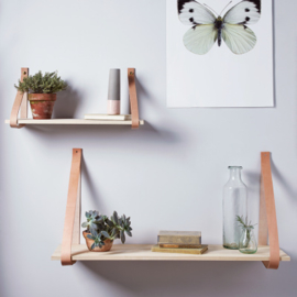 Shelf with leather straps