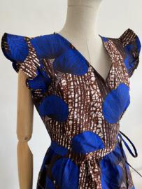 wax wrap dress cobalt blue