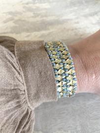bracelet double hearts aqua