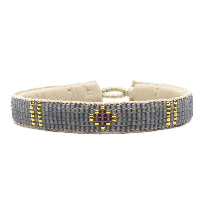 friendship bracelet one flower grey
