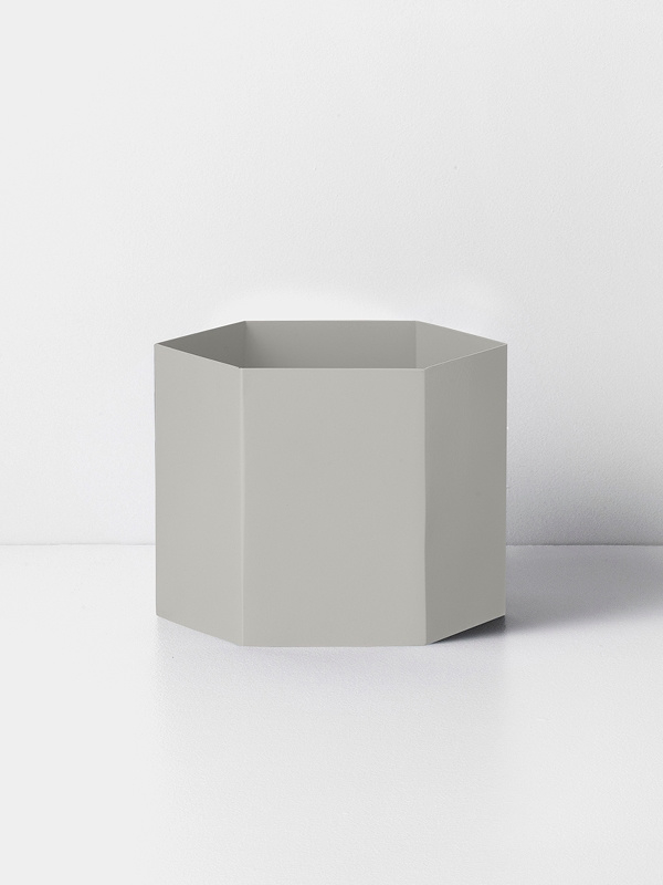 hexagon pot light grey XL