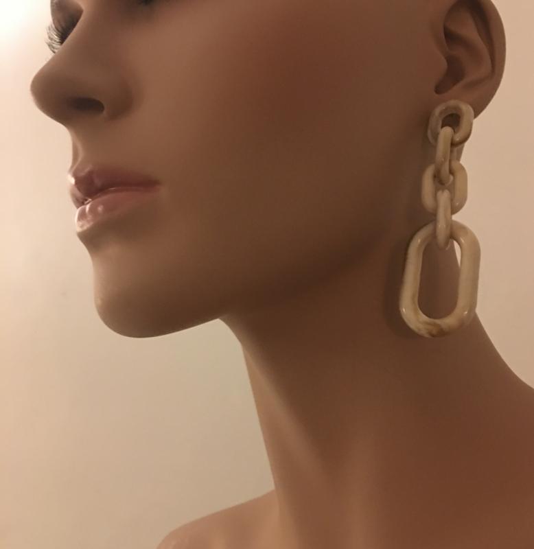 statement earrings small marble beige