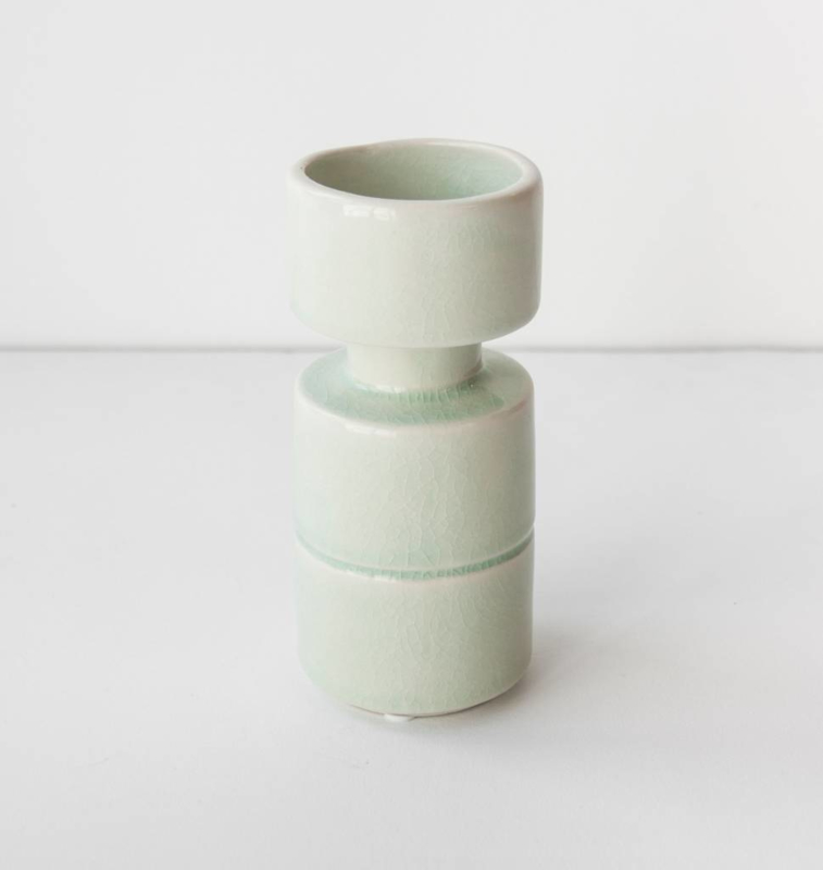 candle holder crackle lime