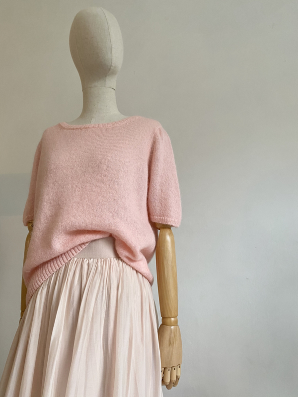 soft pink short sleeved sweater