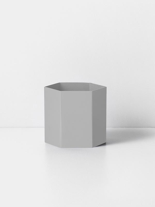 hexagon pot light grey L
