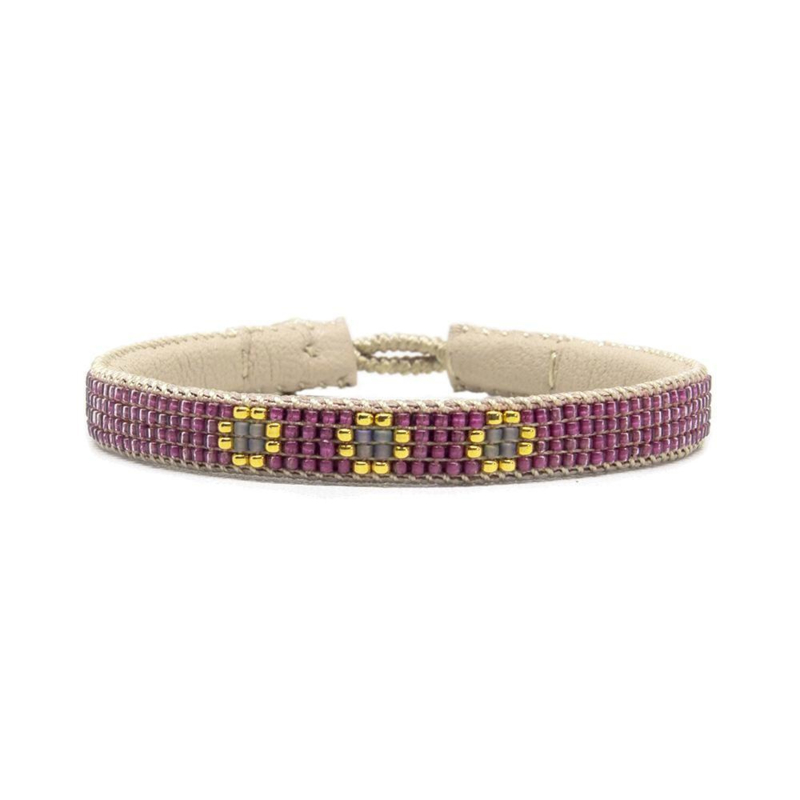 fine beaded bracelet 3 flower pink