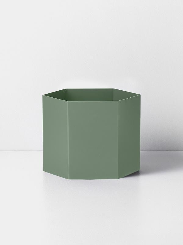 hexagon pot dusty green XL