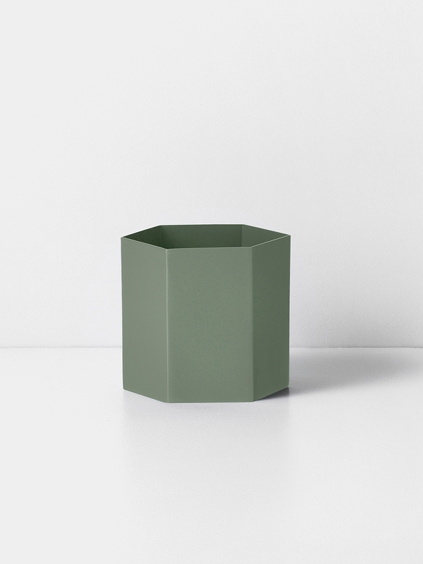 hexagon pot dusty green L