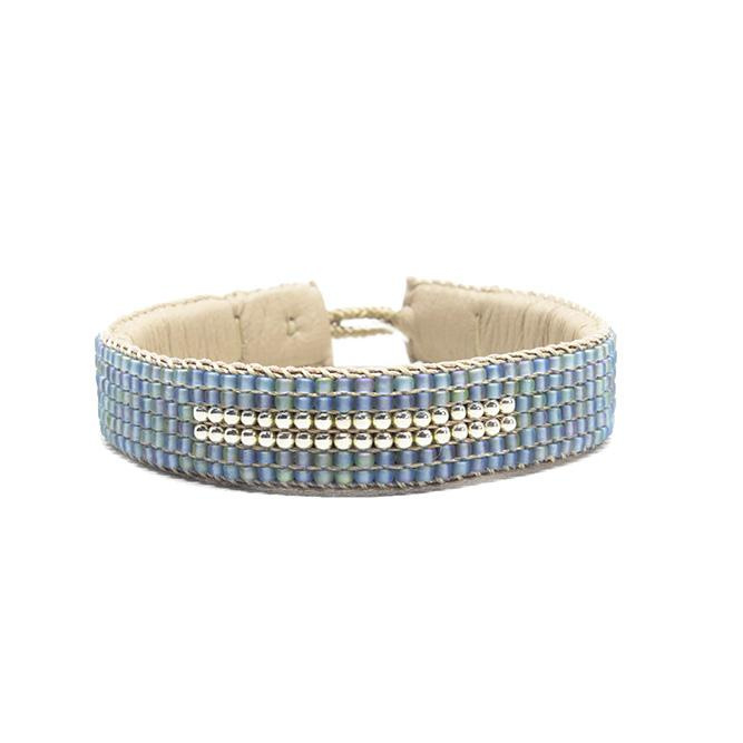 beaded cuff bracelet big stripe blue
