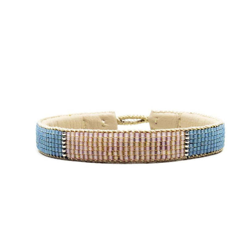beaded block bracelet blue