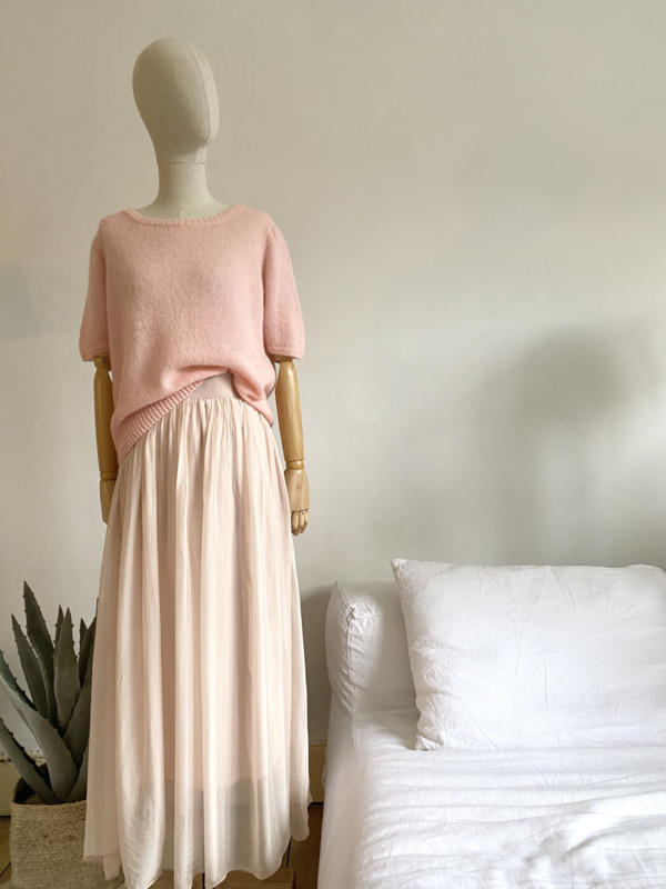 double layer silky skirt salmon