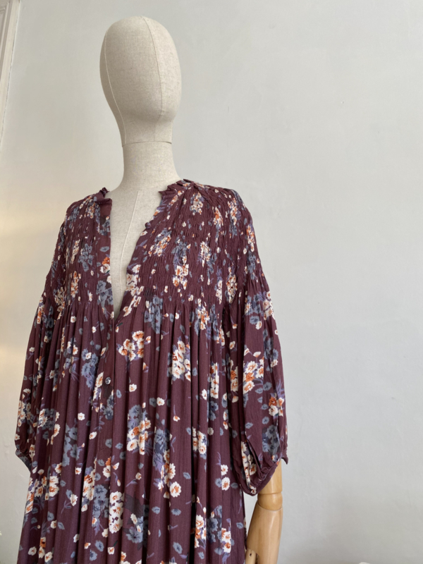 smock dress burgundy flower