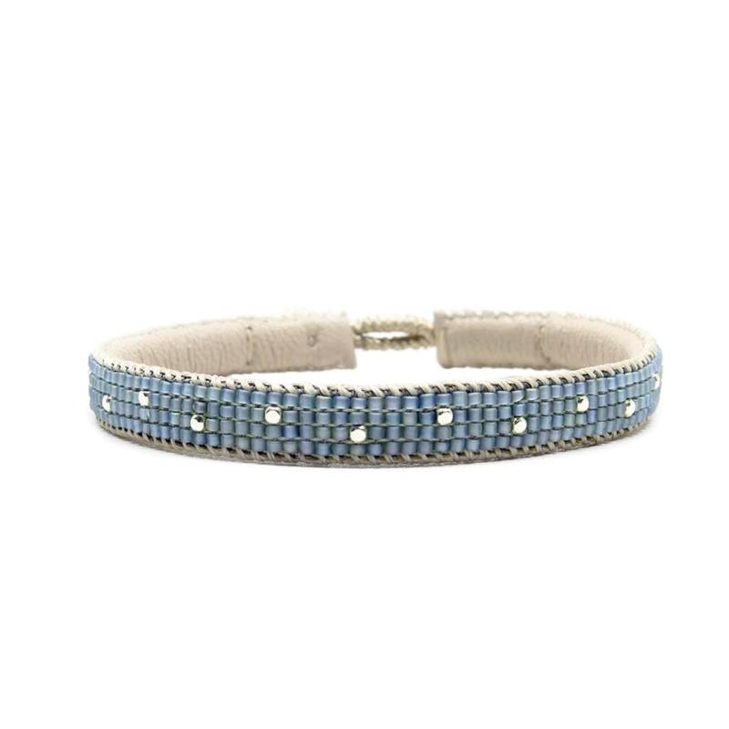 single wrap bracelet the dots blue