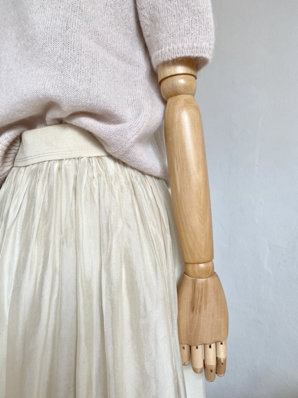 off white double layer silky skirt