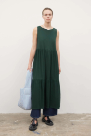 Kowtow Tier Dress Bottle Green