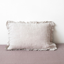 Naturel Frilled  Stone Washed Linen Kussensloop