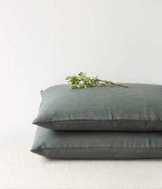 Forest Green Washed Linnen Kussensloop
