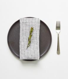 Set of 2 Linen Napkin Black Stripe