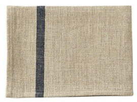 Natural Fog Linen Work Kitchen Towel With Blue Stripe