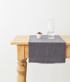 Darkgrey Washed Linen Table Runner With Fringes