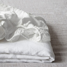 White Stone Washed  Linen Hoeslaken