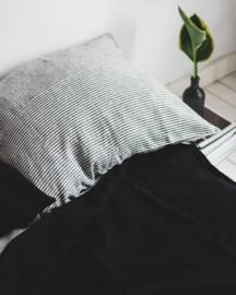 Black  Stone Washed Linen Dekbedovertrek  1 persoons inclusief kussensloop