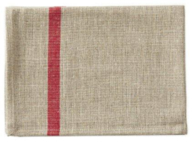 Natural Fog Linen Work Kitchen Towel With Woven Red Stripe
