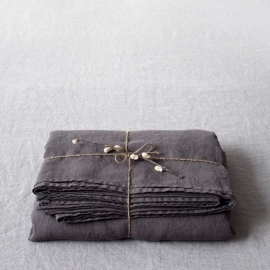 Dark Grey Stone Washed Linen Laken
