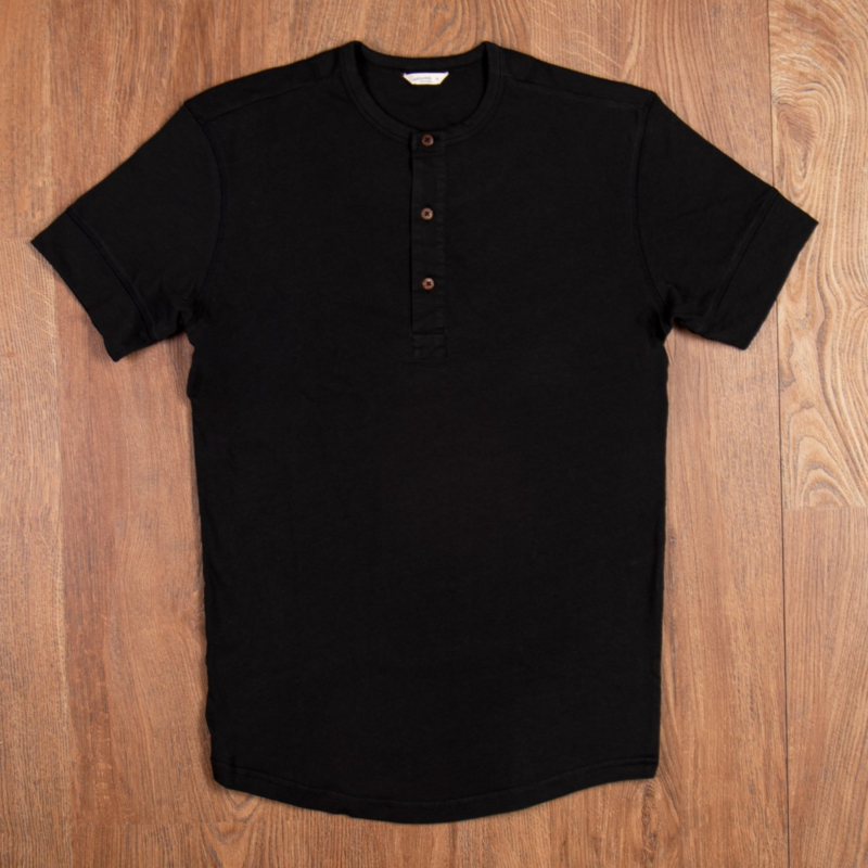 Pike Brothers 1927 Henley Shirt Short Sleeve Faded Black