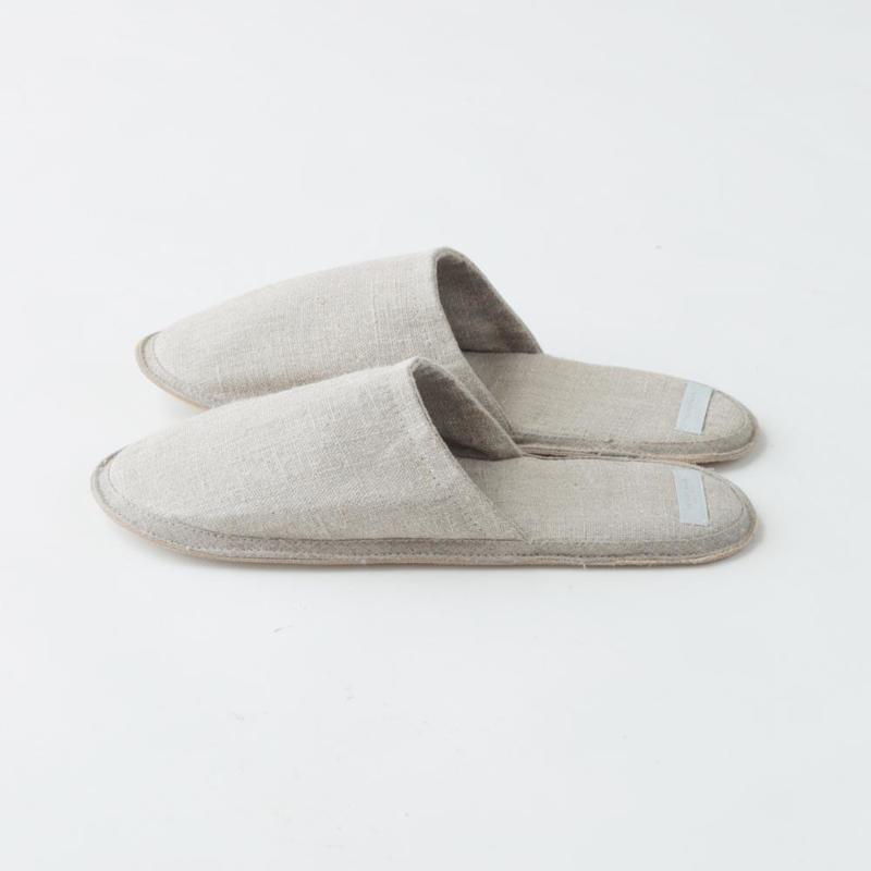 Linnen slippers natural