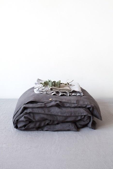 Dark Grey  Stone Washed Linen Dekbedovertrek  2 persoons inclusief kussenslopen