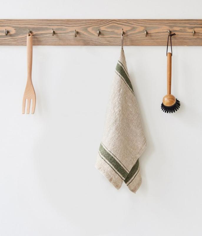 Green Stripe Stonewashed Kitchen Towel