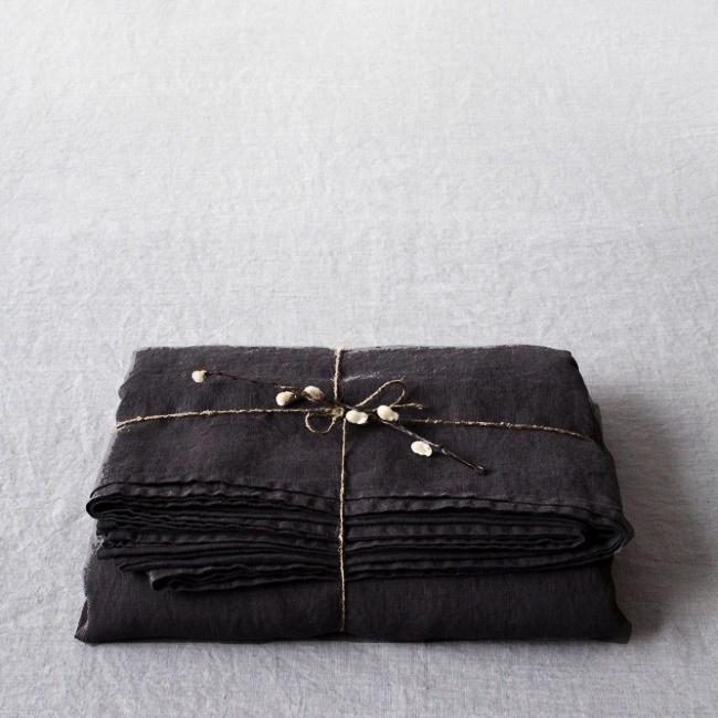 Black Stone Washed Linen Laken