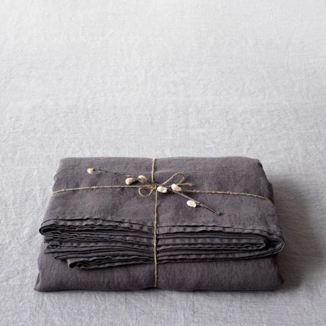 Dark Grey Stone Washed Linen Laken