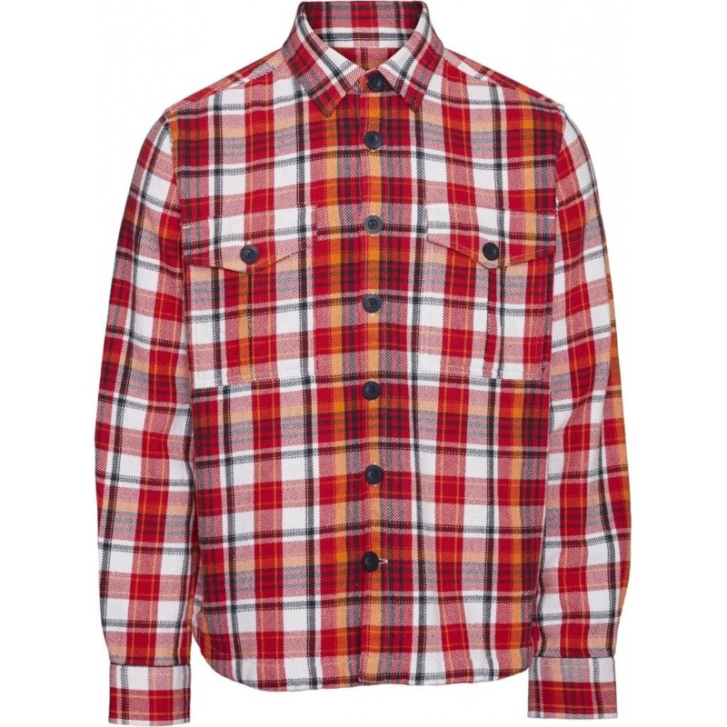 Knowledge Cotton Apparel Overshirt Scarlet