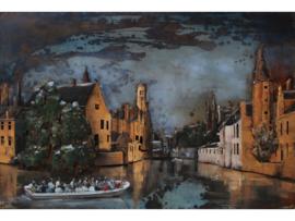 Impressie Brugge, schilderij van metaal