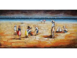 Strand, schilderij van metaal
