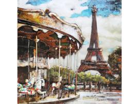 Caroussel, schilderij van metaal