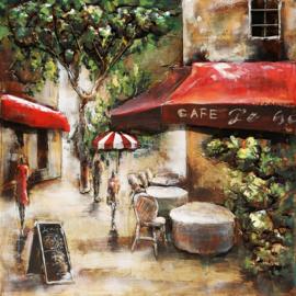Café de Paris, schilderij van metaal