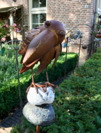 Tuinsteker vogel op stenen