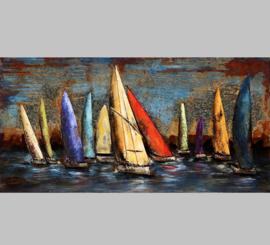 Zeilboten in vrolijke kleuren, schilderij van metaal