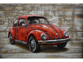 VW kever, schilderij van metaal
