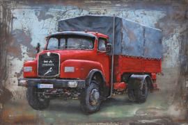 Rode vrachtwagen, schilderij van metaal