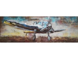 Propeller vliegtuig, schilderij van metaal