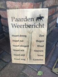 Tekstbord paarden weerbericht