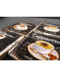 Houten onderzetter set 4 stuks 'Koffie'